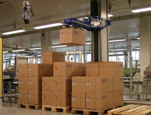 Palettierroboter für Unterputzdosen in Kartons