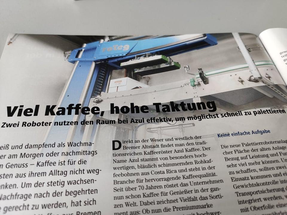 Ein Beitrag über die Anlage bei Azul Kaffee ist in der neuen Ausgabe der Lebensmitteltechnik erschienen